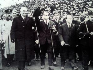 Agustin P. Justo y Marcelo T. Alvear inaugurando la cancha de Boca Juniors